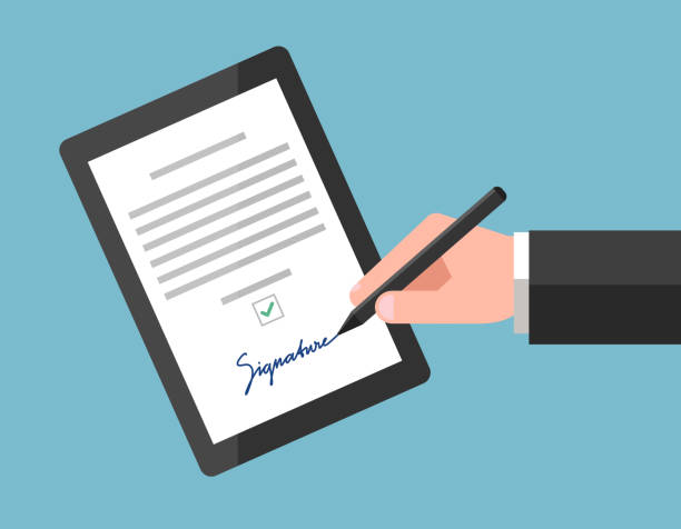Signing of digital contract Signing of digital contract using signature, on tablet. Electronic agreement in modern business signature stock illustrations