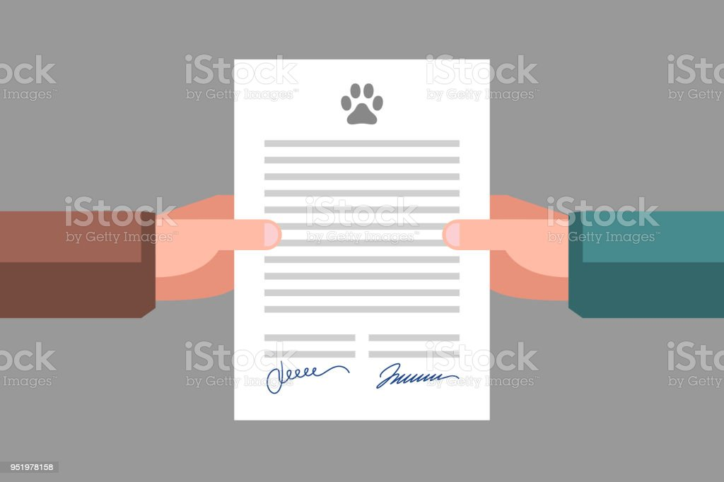 Signing Of Pet Adoption Or Sale Agreement Stock Vector Art More