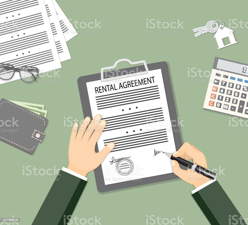 signing rental agreement  with glasses, wallet, calculator and keys vector art illustration