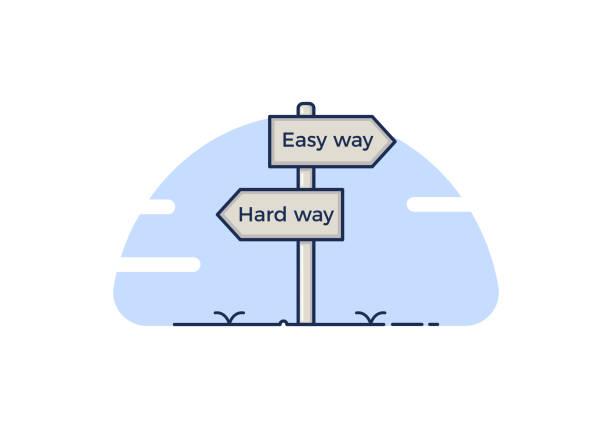 illustrazioni stock, clip art, cartoni animati e icone di tendenza di signpost concept with 2 path choices - the easy way or the hard way. - facilità