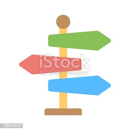 Signpost icon in flat style. Guidepost, direction arrows symbol. Milepost, road guide boards illustration for perfect web and mobile applications.