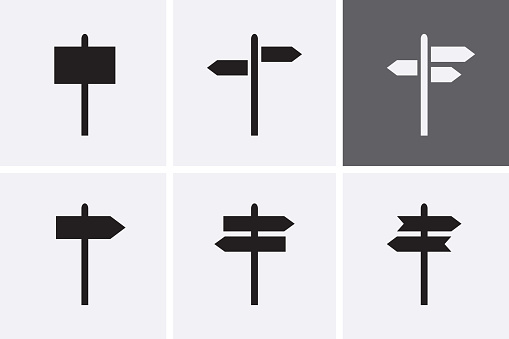 Signpost Icons set. Vector