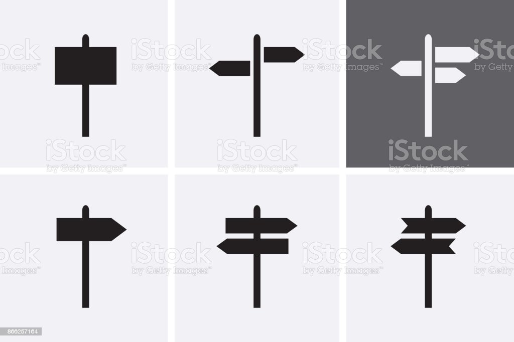 Signpost Icons set. vector art illustration