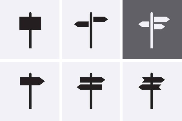 路標圖示設置。 - 方向標誌 幅插畫檔、美工圖案、卡通及圖標