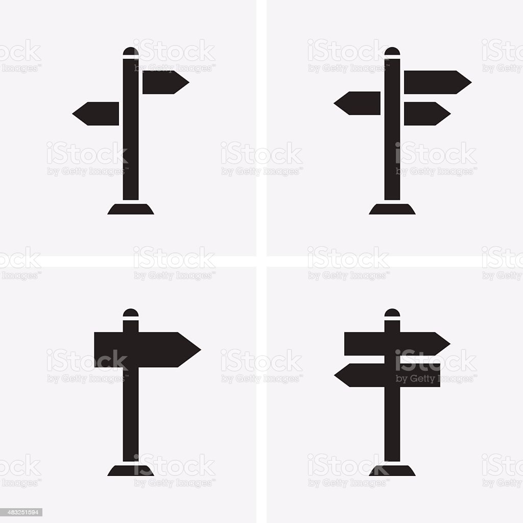 Signpost Icons vector art illustration