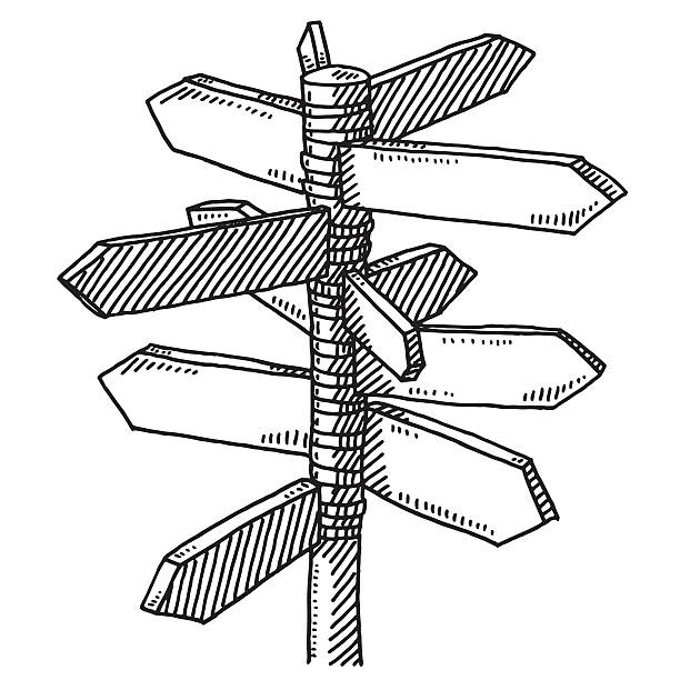 Signpost Multiple Directions Drawing Hand-drawn vector drawing of a Signpost for Multiple Directions. Black-and-White sketch on a transparent background (.eps-file). Included files are EPS (v10) and Hi-Res JPG. transportation stock illustrations