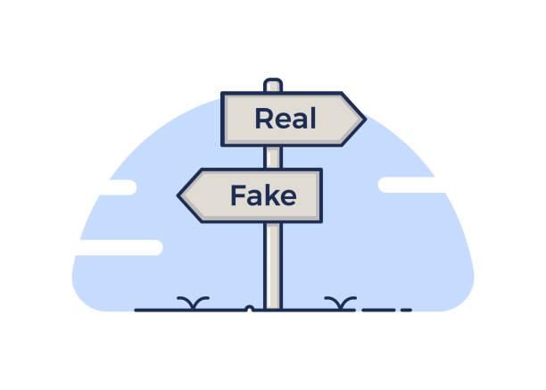 illustrazioni stock, clip art, cartoni animati e icone di tendenza di signpost pointing at two opposite directions, the real and the fake concept. vector illustration - real life