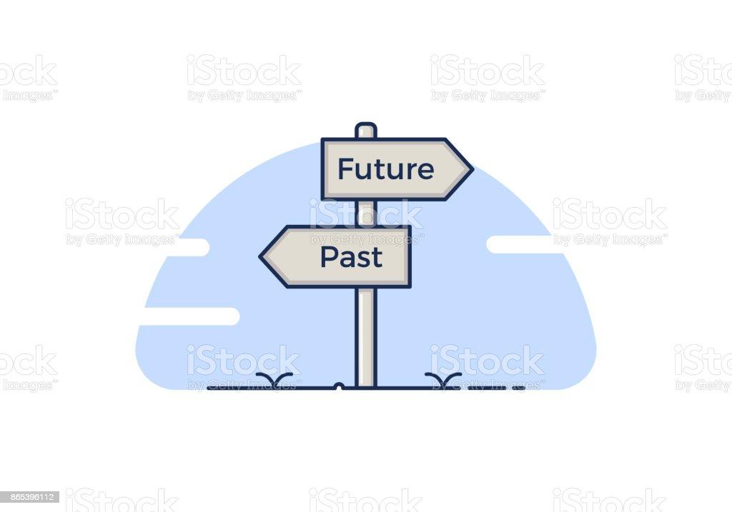 Poste indicador con 2 opciones entre pasado y futuro. Aislados ilustración de vectores - ilustración de arte vectorial