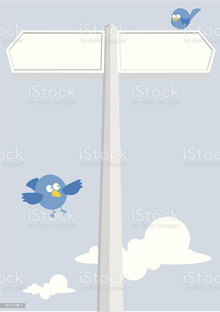 Signpost with Birds royalty-free stock vector art