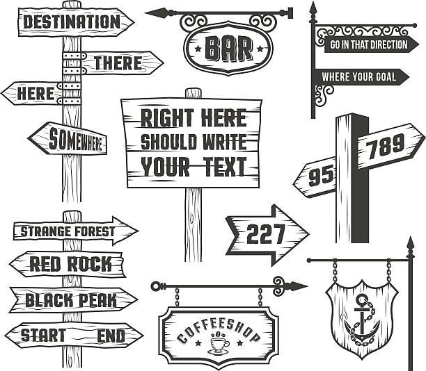 bildbanksillustrationer, clip art samt tecknat material och ikoner med signposts in comics style - stock arrow