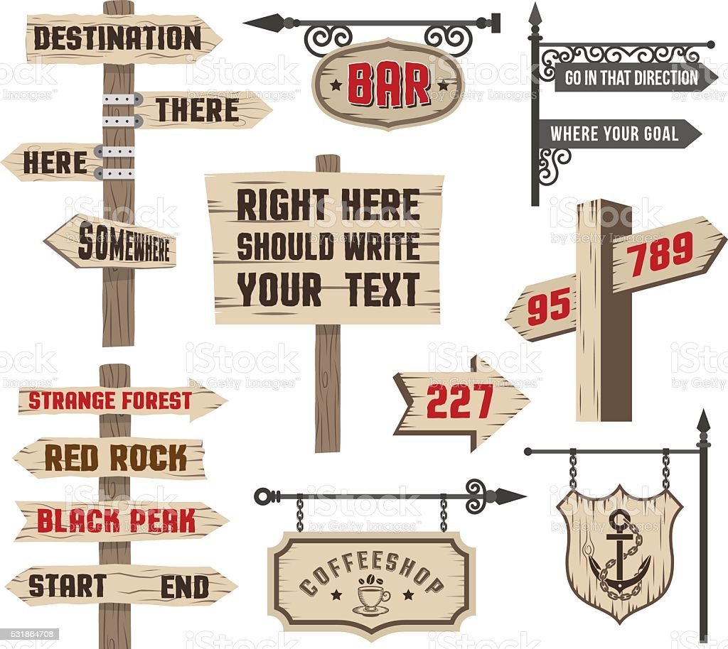 Signposts vector art illustration