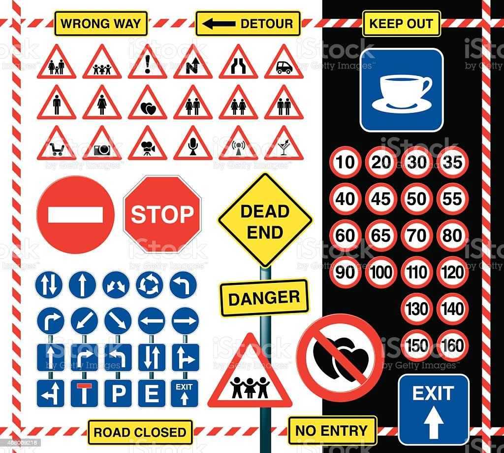 Signs and icons vector art illustration