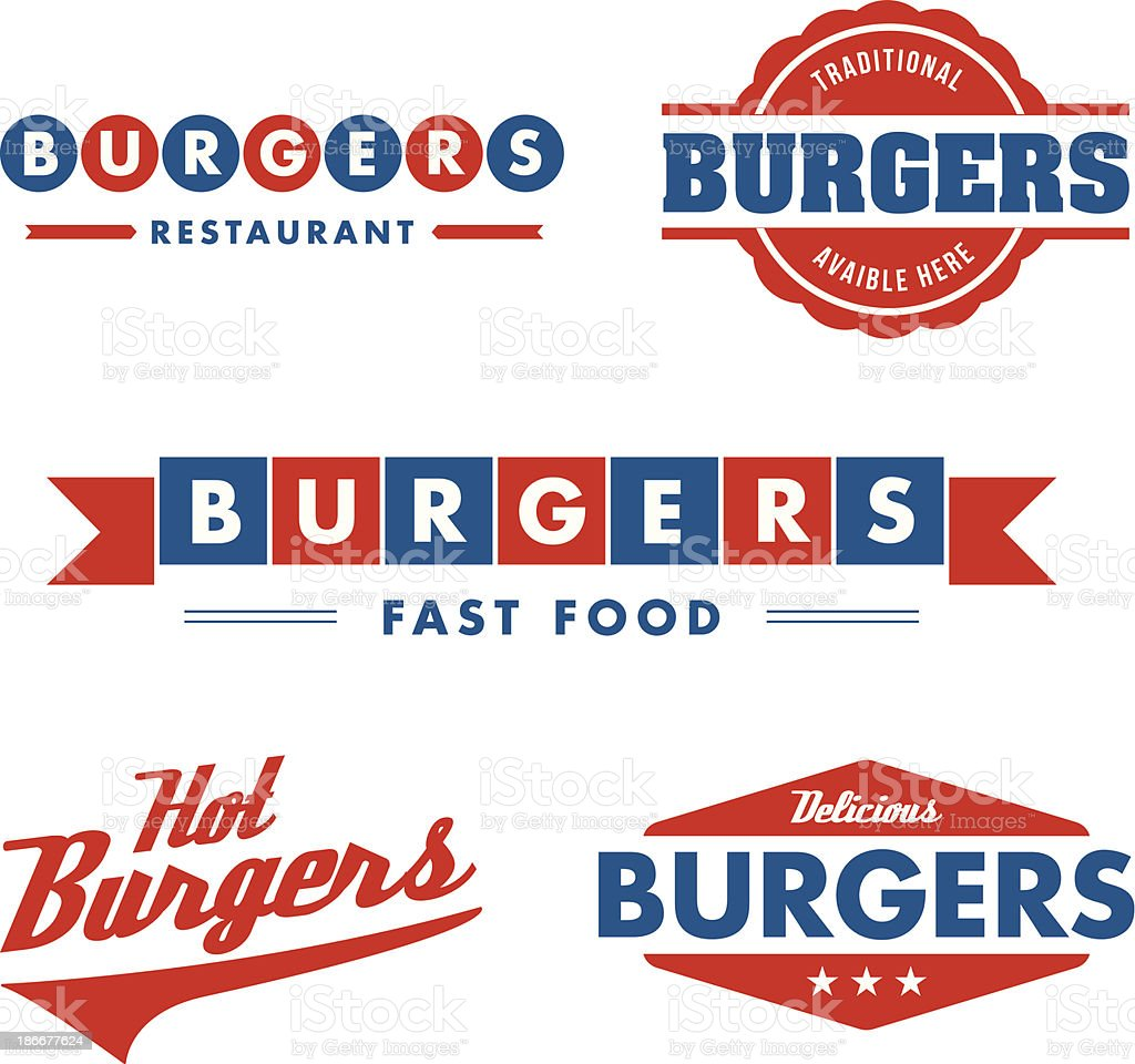 Signs and symbol, fast food restaurant vector art illustration