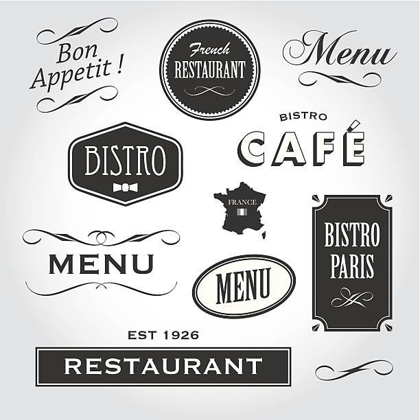 französisches restaurant zeichen und symbole - cafe stock-grafiken, -clipart, -cartoons und -symbole