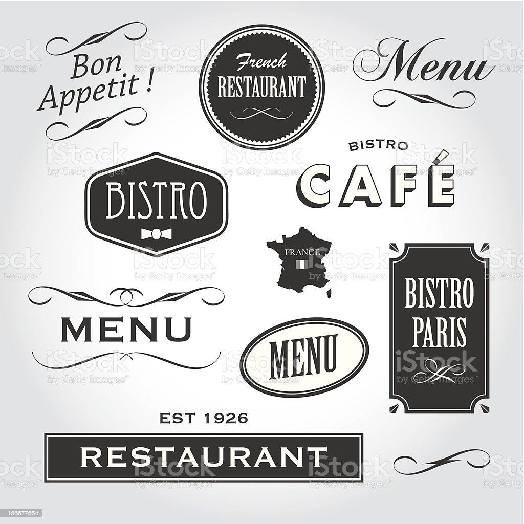 signs and symbols french restaurant vector art illustration