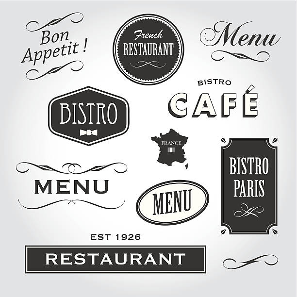 francuska restauracja znaki i symbole - cafe stock illustrations