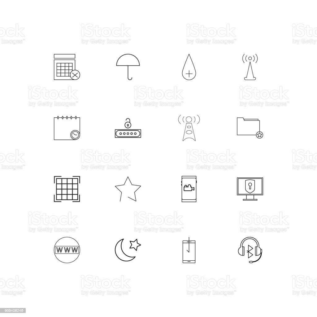 Signs And Symbols Linear Thin Icons Set Outlined Simple Vector Icons