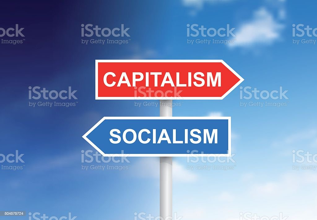 Signs 'Capitalism' and 'Socialism' over sky vector art illustration