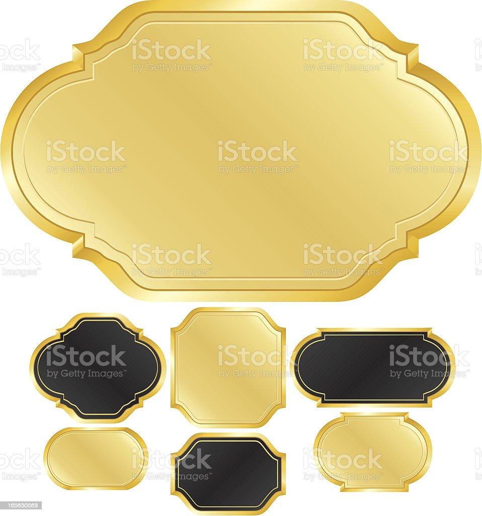 Signs Design Elements Set - Gold, Black royalty-free stock vector art