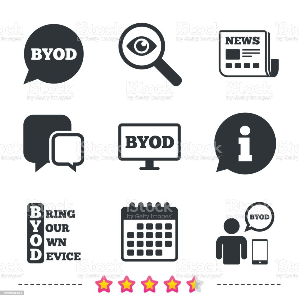 BYOD signs. Human with notebook and smartphone. - arte vettoriale royalty-free di Adulto