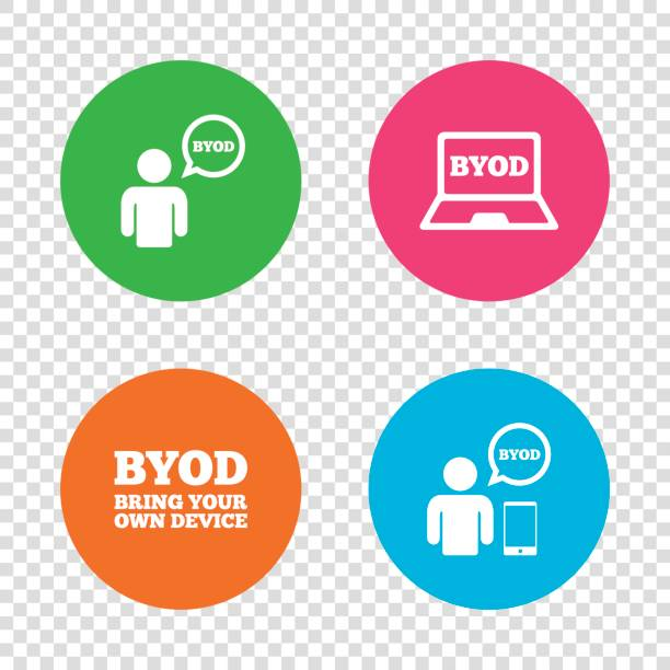 illustrazioni stock, clip art, cartoni animati e icone di tendenza di byod signs. human with notebook and smartphone. - owner laptop smartphone