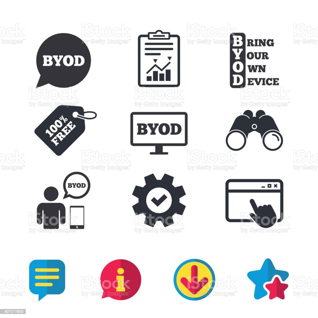 BYOD signs. Human with notebook and smartphone. - arte vettoriale royalty-free di A forma di stella