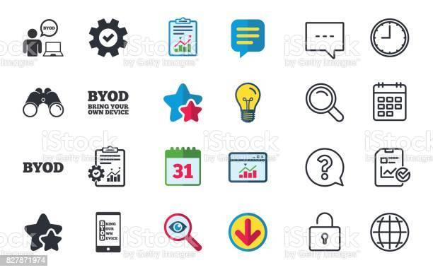 Byod Signs Human With Notebook And Smartphone - Immagini vettoriali stock e altre immagini di A forma di stella
