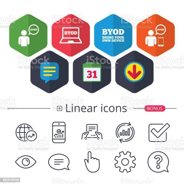 Byod Signs Human With Notebook And Smartphone - Immagini vettoriali stock e altre immagini di Adulto
