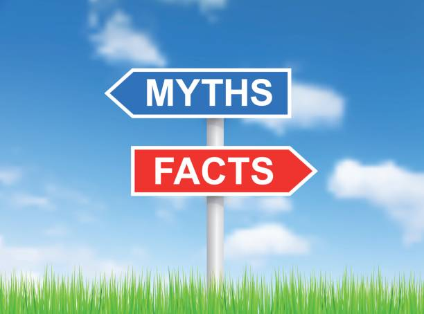 """signs """"myths"""" and """"facts"""" over sky - mythology stock illustrations"""