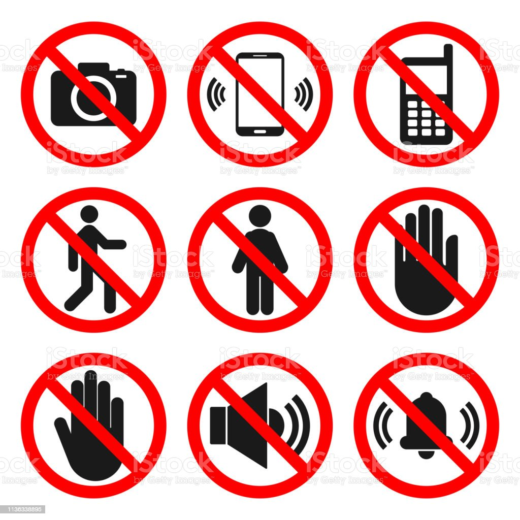 ENTRY signs. NO SOUND, DO NOT TOUCH symbols. Forbidden icon set....