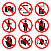 istock NO CAMERAS, NO PHONES, NO ENTRY signs. NO SOUND, DO NOT TOUCH symbols. Forbidden icon set. Vector 1136338895