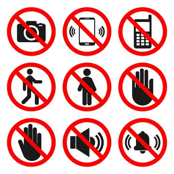 keine cameras, keine phare-zeichen, keine entry-zeichen. keine sound, keine touch symbole. verbotenes icon set. vektor - ausstoßen stock-grafiken, -clipart, -cartoons und -symbole