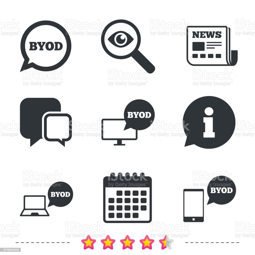 BYOD signs. Notebook and smartphone icons. - arte vettoriale royalty-free di Applicazione mobile