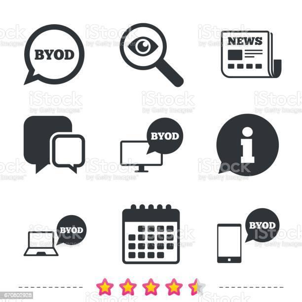 Byod Signs Notebook And Smartphone Icons - Immagini vettoriali stock e altre immagini di Applicazione mobile