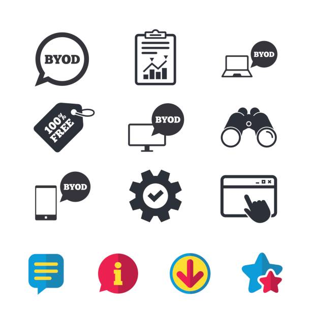 illustrazioni stock, clip art, cartoni animati e icone di tendenza di byod signs. notebook and smartphone icons. - owner laptop smartphone
