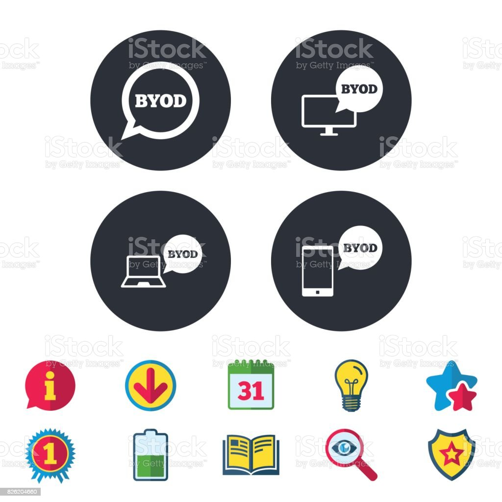 BYOD signs. Notebook and smartphone icons. - arte vettoriale royalty-free di A forma di stella
