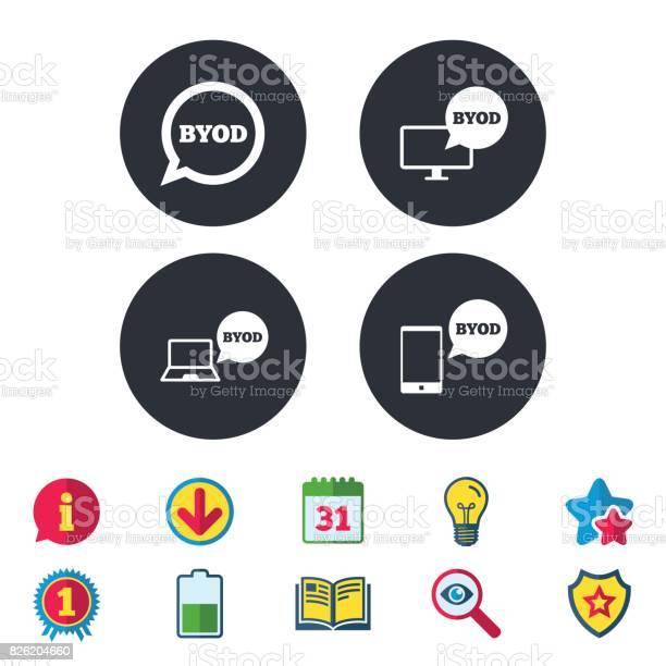 Byod Signs Notebook And Smartphone Icons - Immagini vettoriali stock e altre immagini di A forma di stella