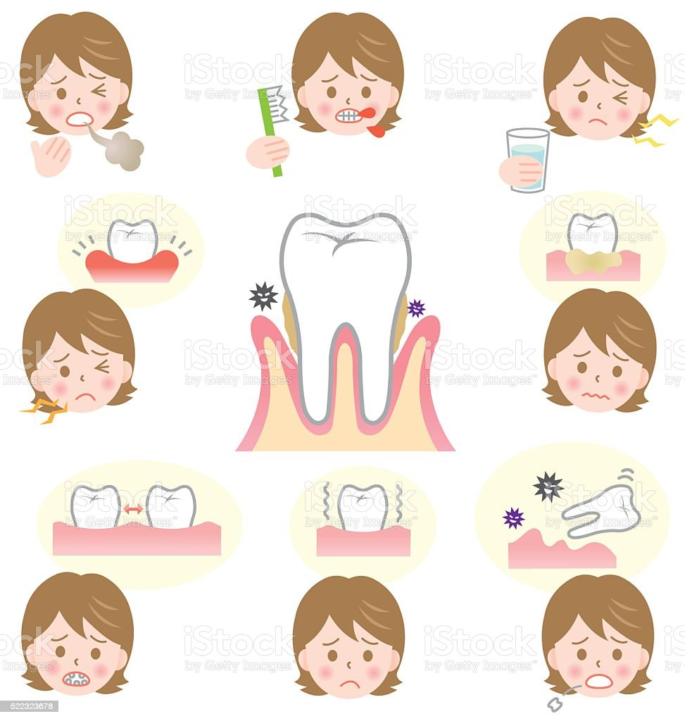 signs of gum disease vector art illustration