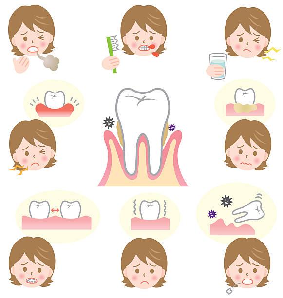 bildbanksillustrationer, clip art samt tecknat material och ikoner med signs of gum disease - tandsten