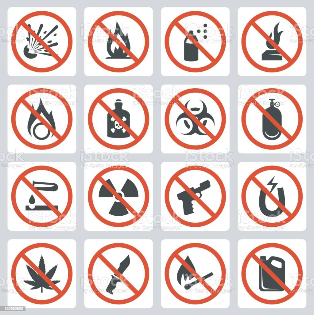 Signs of prohibited luggage items in airport, vector icon set vector art illustration