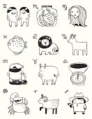Vector file of the fun version zodiac signs.