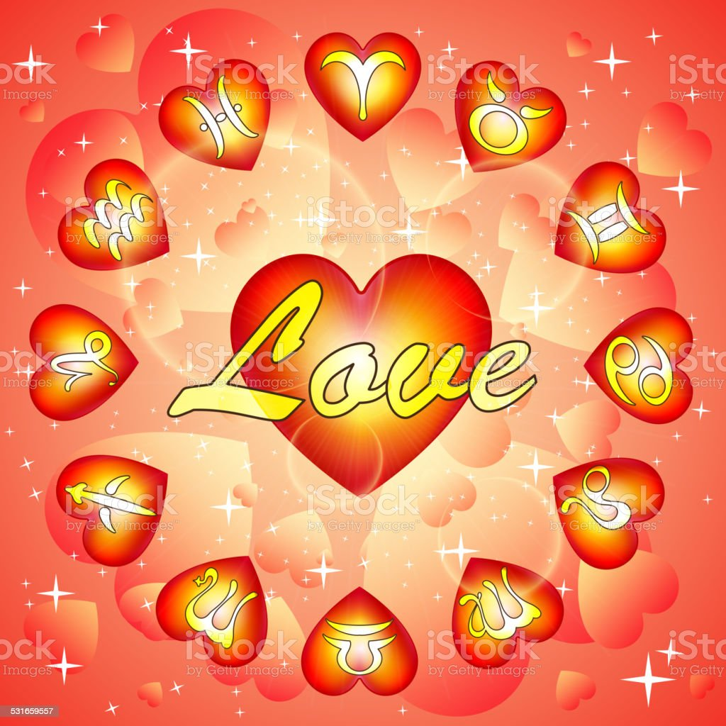 Signs Of Zodiac On Valentines Day Horoscope For Love Stock Vector
