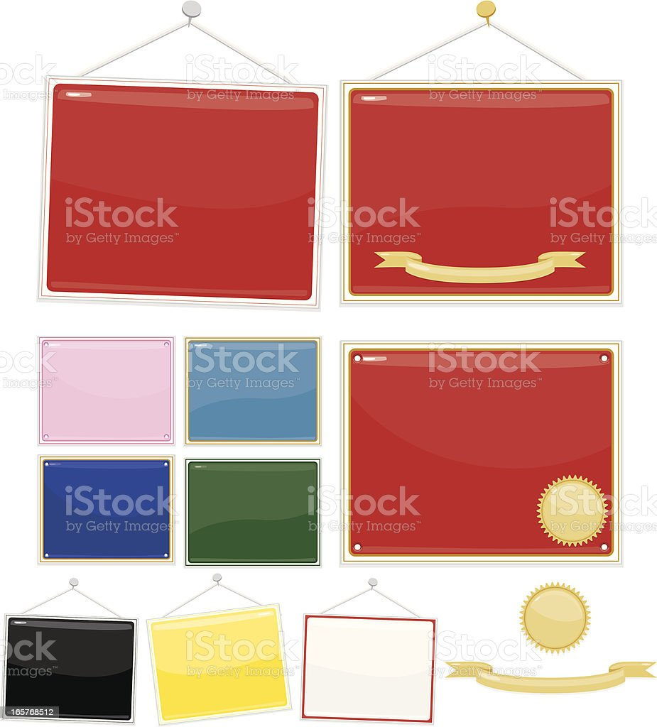 Signs, Placards: Set of 10 - Red, White, Black, More royalty-free stock vector art