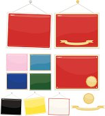 Set of 10 signs, placards: red, pink, blue, purple, green, black, yellow, white with red border. ***OPTIONAL*** gold stickers, ribbons, nails, string.