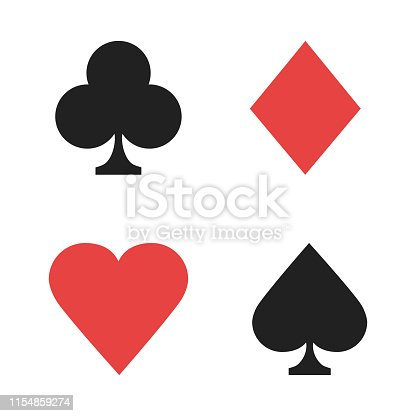 Signs playing cards. Casino isolated signs red black color. Poker signs. EPS 10
