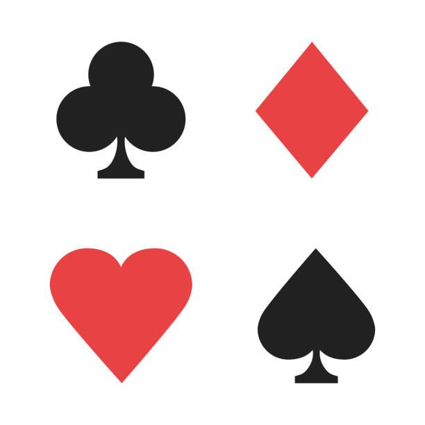 카드 놀이 표지판. 카지노 고립 된 징후 빨간색 검은 색입니다. 포커 표지판. - 수트 stock illustrations