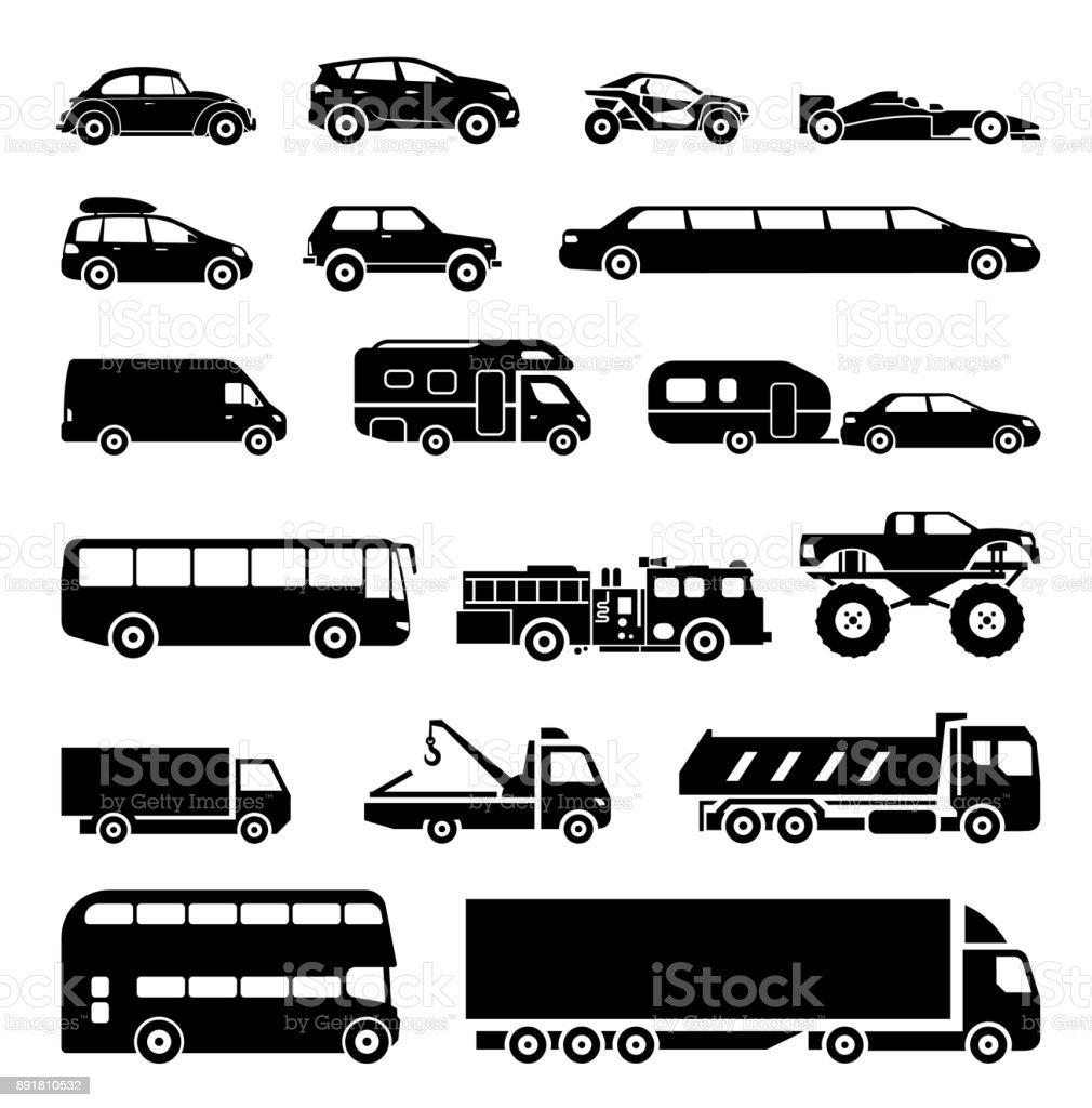 Placas de apresentar diferentes meios de transporte. - ilustração de arte em vetor