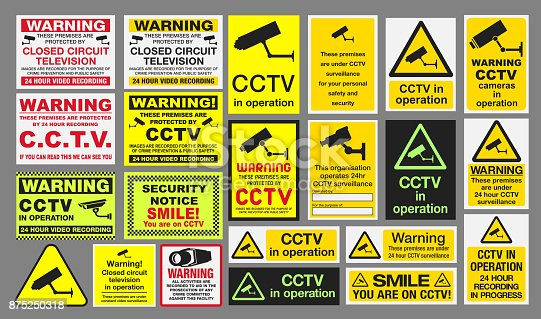 Vector pack of different CCTV Closed Circuit Television sings