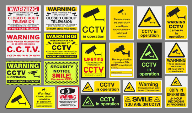 CCTV Signs Vector pack of different CCTV Closed Circuit Television sings signs and symbols stock illustrations