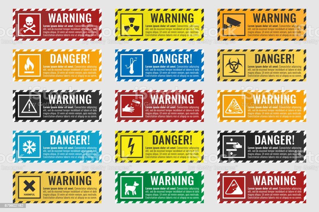 panneaux avertissant du danger - feu, haute tension, température, toxiques panneaux avertissant du danger feu haute tension température toxiques vecteurs libres de droits et plus d'images vectorielles de affaires finance et industrie libre de droits